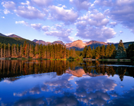"""Daybreak at Sprague Lake"" Photograph by Colorado photographer James Frank. Early morning reflection at Sprague Lake, view of the Continental Divide, Rocky Mountain National Park, Colorado, USA."