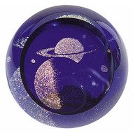 """Saturn"" glass paperweight handmade by Glass Eye Studio."