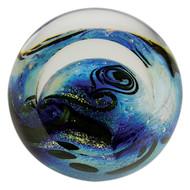 """Blue Planet"" glass paperweight handmade by Glass Eye Studio."