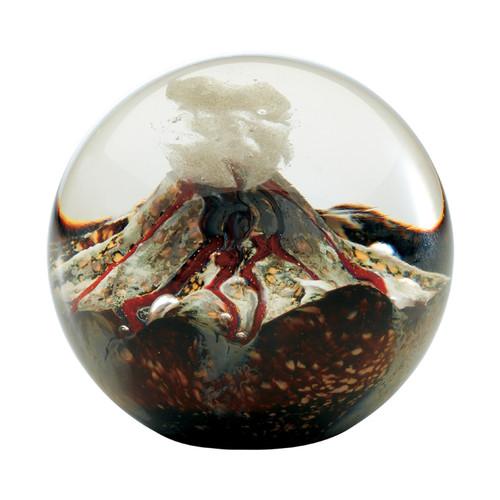 """""""Volcano"""" glass paperweight handmade by Glass Eye Studio."""