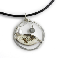 "CAN4 Hammered Silver with Labradorite and Pearl Necklace by Tessoro Jewelry, natural birchbark, hand hammered sterling silver, labradorite and freshwater pearl, black leather cord 17"", 1 1/2"" x 1 1/2"" pendant."