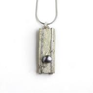 "SN35 Superior Freshwater Pearl Necklace by Tessoro Jewelry, natural birchbark, hand hammered sterling silver, freshwater pearl, sterling silver snake chain 18"", 1 1/4"" x 3/8""."
