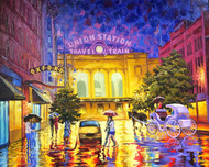 """Original oil painting on canvas by Stanislav Sidorov, """"Union Station After the Rain"""" 24x30"""