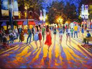"Original oil painting on canvas by Stanislav Sidorov, ""Pearl Street Promenade"" 30x40"