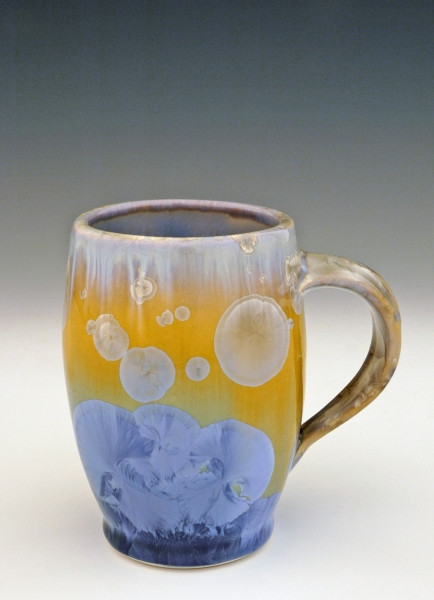 "This Bistro Mug is handmade by Bill Campbell based in Cambridge Springs, PA. The mug is 4 1/2"" x 5"" wide and holds 11oz it is shown in his gold glaze. We offer two different Stellar glazes Cream/Green/Blue and New Glaze, Light and Dark. All of his porcelain is functional; microwave, oven, & dishwasher safe."