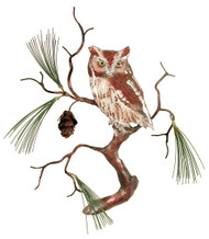 Screech Owl with Pine by Bovano of Cheshire Metal