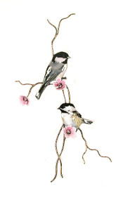Two Chickadees (with Pink Flower) by Bovano Cheshire Metal