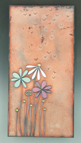 """Tall Tales"" by Jenn Bell 6x12 glass on copper tile"