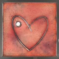 """Within"" (red) by Jenn Bell 4x4 glass on copper tile"