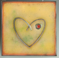 """Within"" (green) by Jenn Bell 4x4 glass on copper tile"