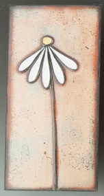 """Dainty Daisy"" by Jenn Bell 3x6 glass on copper tile"