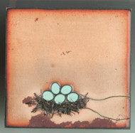 """Nesting"" by Jenn Bell 4x4 glass on copper tile"