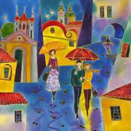 "Original painting by Lena Sidorova, ""Rainy Day Prague"", Oil, 20x20"