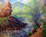 """Original painting by Colorado painter Julia Dordoni, """"Fly Fisherman on the Creek"""", Acrylic, 30x40 gallery wrapped canvas."""