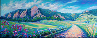 "Original painting by Colorado painter Julia Dordoni, ""Sweet Peas at Chautauqua"", Acrylic, 16x40 gallery wrapped canvas."