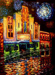 "Original painting by Colorado painter Julia Dordoni, ""Boulder Theater"", Acrylic, 18x24 gallery wrapped canvas."