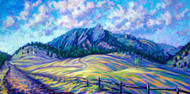"Original painting by Colorado painter Julia Dordoni, ""Psychedelic Flatirons"", Acrylic, 24x48, gallery wrapped canvas nicely framed."
