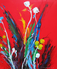 """White Floral on Red"" 20x24, an orginal oil painting by Tim Howe California artist on a gallery wrapped canvas."