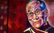 """Hello Dalai!"" 30""x48"", an orginal acrylic painting by Colorado painter Mary Darracott on a gallery wrapped canvas."