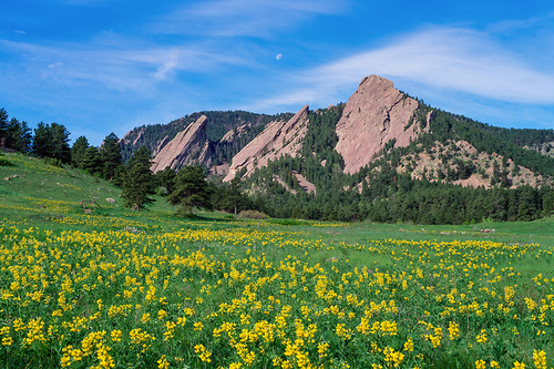 """Golden Banner"" Photograph by Colorado photographer James Frank. ""One of the best known features along Colorado's Front Range are the Flatirons at the southwest end of Boulder, CO. The area hosts some of the most fantastic parks and nature trails, providing hikers, joggers or Sunday walkers with nature at her best and great views of these incredible geological forms."""