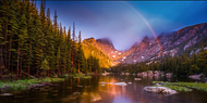 """Rainbow Panoramic at Dream Lake"" Photograph by Colorado photographer James Frank."