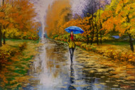 "Original oil painting on gallery wrapped canvas by Stanislav Sidorov, ""Autumn Shower"" 24x36"