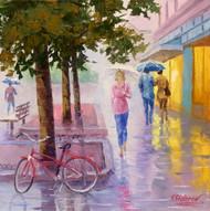 "Original oil painting on gallery wrapped canvas by Stanislav Sidorov, ""Rain Walk"" 14x14"
