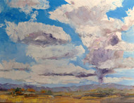 """Thunderheads"" by Cindy Carrillo.  Oil on Canvas.  Framed.   18x24 inches"