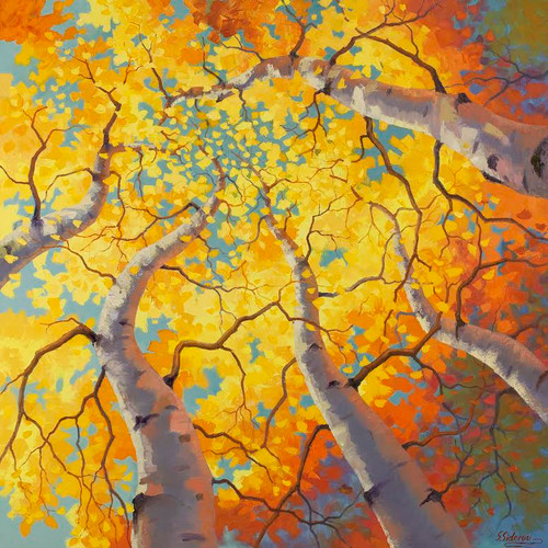 """Aspen Symphony"" by Stanislav Sidorov.  Oil on Canvas.  Gallery wrap.  36x36 inches."