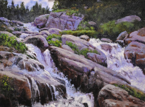 """Cascading Falls"" by James Whartman.  Oil on Canvas. Framed.  12x16 inches."