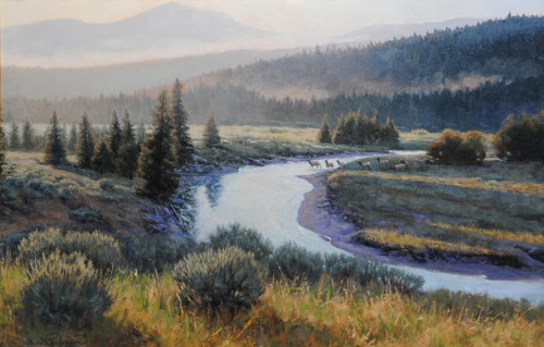 """Foggy Mountain Morning"" by James Whartman.  Oil on Canvas.  Framed.  20x30 inches."