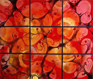 """Autumn Fugue in 9 Panels"" by Cynthia Miller, glass enameled on copper panels, 32x38""."