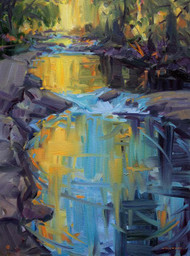 """Creekside Magic"" by Maggie Renner-Hellman.  Oil on Canvas.  Framed.  18x24 inches."