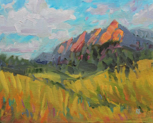 """Colorado Jewels — Flatirons"" by Maggie Renner-Hellman.  Oil on Canvas.  Framed.  8x10 inches."