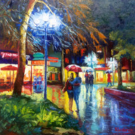 """Original oil painting on gallery wrapped canvas by Stanislav Sidorov, """"Glowing Street Light"""" 20x20."""
