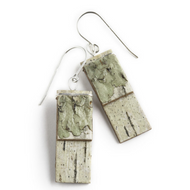 "GW2 Salon Green Moss Earrings by Tessoro Jewelry, natural birchbark, sterling silver ear wires, 1 1/4"" x 7/16""."