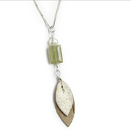 "GN7 Salon Grossular Garnet and Pearl Leaf Necklace by Tessoro Jewelry, natural birchbark, grossular garnet and freshwater pearl, sterling silver box chain 18"", pendant is 2 1/4"" x 1/2""."