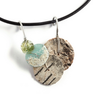 """AMN17 Roman Glass Necklace by Tessoro Jewelry, natural birchbark, ancient roman glass, hand hammered sterling silver, black leather cord 17"""", pendant is 2"""" x 1 1/2""""."""