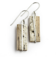 "NOW9 Classic Nordic Sterling Earrings by Tessoro Jewelry, natural birch bark, hand hammered sterling silver, sterling silver ear wires, earrings are 1 1/8"" x 3/8""."