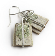 "GW6 Salon Green Moss and Hammered Sterling Earrings by Tessoro Jewelry, natural birchbark, hand hammered sterling silver, sterling silver ear wires, earrings are 1' x 1 1/16""."