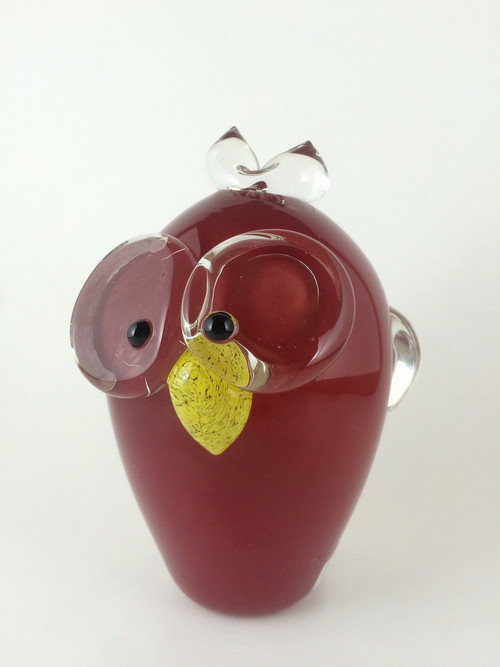 """""""Owl in Opaque Red"""" by Catherine Labonté"""