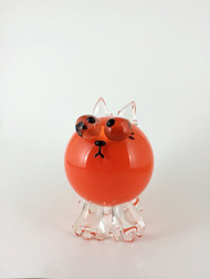 "Kitten in Opaque Orange. 3.5""x3.5""x5.5""."