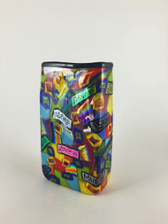 """Small Rectangle Vase in Positive Word ""  by Michael Maddy & Rina Fehrensen, Mad Art Studio. 6.75""x3.50""x2""."