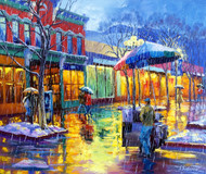 "Original oil painting on gallery wrapped canvas by Stanislav Sidorov, ""Twilight Rain (Pearl Street)"" 20x24."