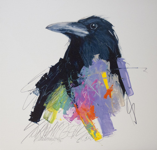 "Limited edition giclee print on canvas by fine artist Sarah Rogers, titled, ""Paint Bird"", 24x24"