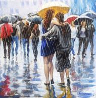 "Stanislav Sidorov, ""Promenade Under the Rain"" by Stanislav Sidorov 14x14"