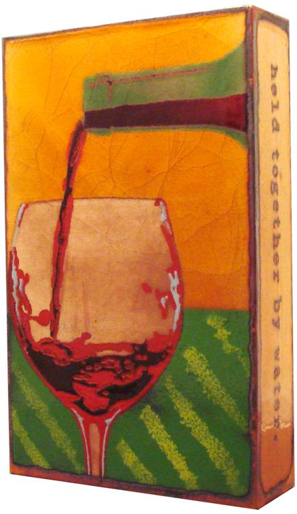 "Houston Llew Spiritile - #011, ""Liquid Sunshine"" - Molten glass over copper art."