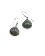 "Labradorite Station Earrings by Philippa Roberts Jewelry based in Oakland, Ca. Multifaceted labradorite stones with a sterling silver bezel and sterling silver french wires. Hangs 1/2""."