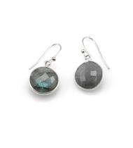 "Labradorite Round Earrings by Philippa Roberts Jewelry based in Oakland, Ca. Multifaceted labradorite stones with a sterling silver bezel and sterling silver french wires. Hangs 1/2"". Labradorite can appear to be grey, green, and blue. Each piece is unique in color making no set alike."
