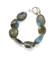 "Labradorite Bracelet by Philippa Roberts Jewelry based in Oakland, CA. Labradorite with toggle clasp and 7 1/2"" in length. Labradorite can appear to be grey, green, and blue. Each piece is unique in color making no set alike."